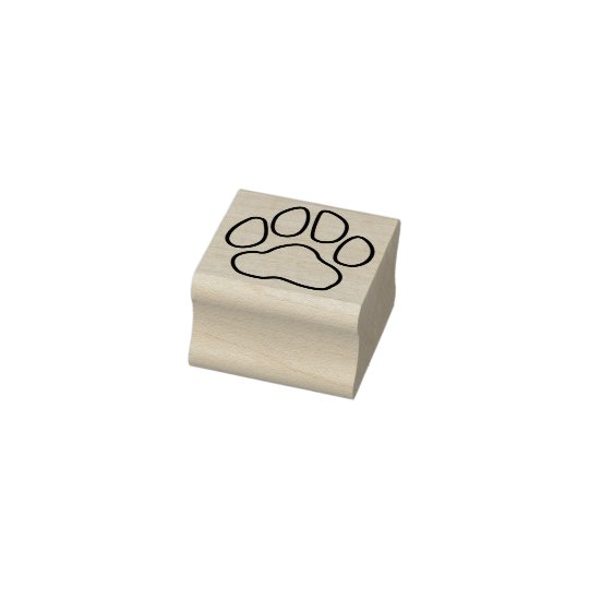 Simple Outline Paw Print Rubber Stamp