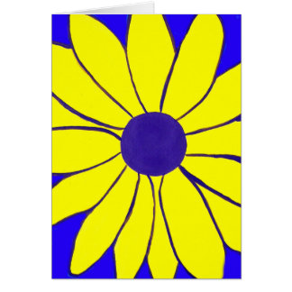 Simple Painting of a Yellow Flower on Blue Cards