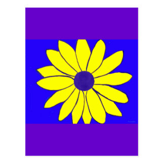 Simple Painting of a Yellow Flower on Blue Postcard