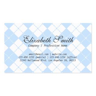 Simple Pale Blue Argyle Pattern Business Card