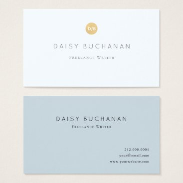 Professional Business Simple Pale Blue Gold Monogram Business Card