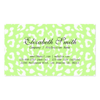 Simple Pale Green Leopard Mod Business Card