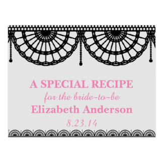 Simple Pale Pink and Black Lace Recipe Cards