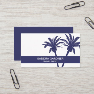 Simple Palm Tree Travel Agent Business Card