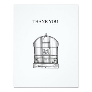 "Simple Paris Antique Birdcage Thank You Card 4.25"" X 5.5"" Invitation Card"