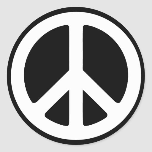 Simple Peace Sign Round Stickers