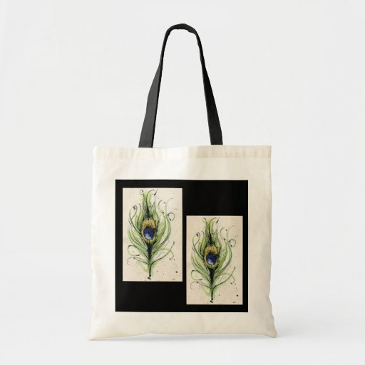 Simple Peacock tote Canvas Bags