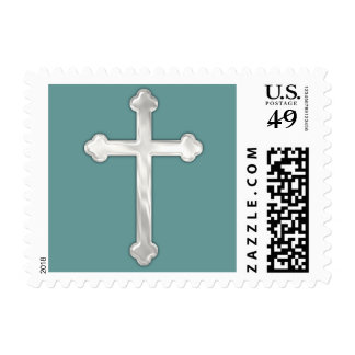Simple Pearly Cross on Any Color Background Postage