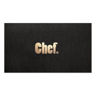 Simple Personal Chef  Faux Black Linen and Gold Business Card