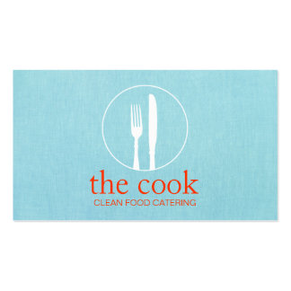 Simple Personal Chef Modern Catering Turquoise Double-Sided Standard Business Cards (Pack Of 100)