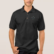 simple & personalized golf player logo on black polo shirt