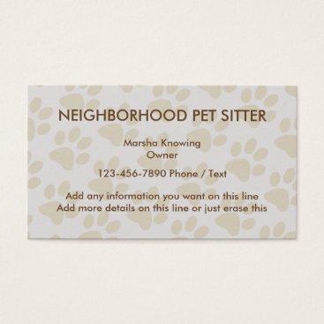 Simple Pet Sitting Design Business Card