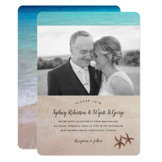 Simple Photo Beach Wedding Starfish Invitation