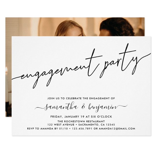 Simple Photo Engagement Party Invitation