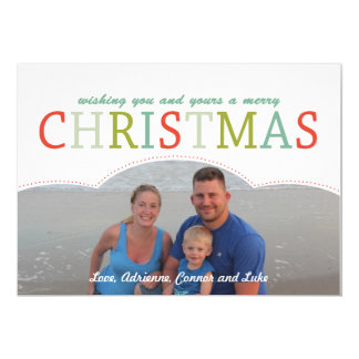 "Simple photo Family Christmas Card mod colors 5"" X 7"" Invitation Card"
