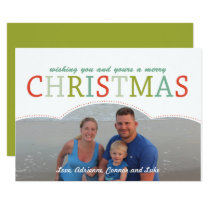 Simple photo Family Christmas Card modern colors