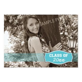 Simple Photo Graduation Announcement (aqua)