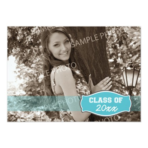 Simple Photo Graduation Announcement (aqua)