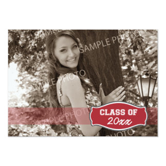Simple Photo Graduation Announcement (red)