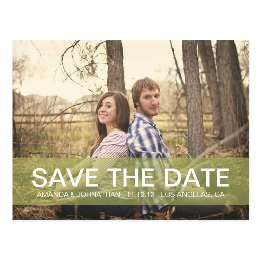 Simple Photo Green Save The Date Post Cards