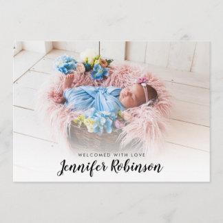 Simple Photo Newborn Baby Birth Announcements