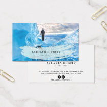 Simple Photo Pale Blue Brush Stroke Business Card