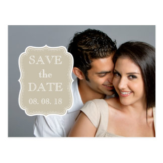 SIMPLE PHOTO SAVE THE DATE | BEIGE WHITE POSTCARD