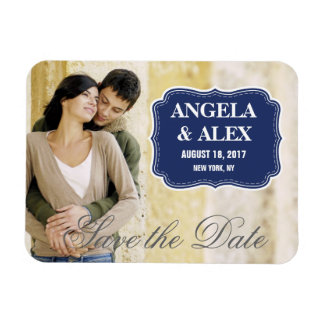 SIMPLE PHOTO SAVE THE DATE | NAVY BLUE GREY RECTANGULAR PHOTO MAGNET
