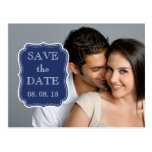 SIMPLE PHOTO SAVE THE DATE   NAVY BLUE POSTCARD