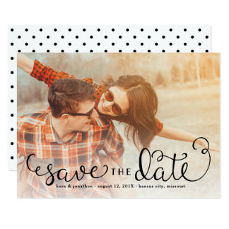 Simple Photo Save the Dates, Hand Lettered Script Card