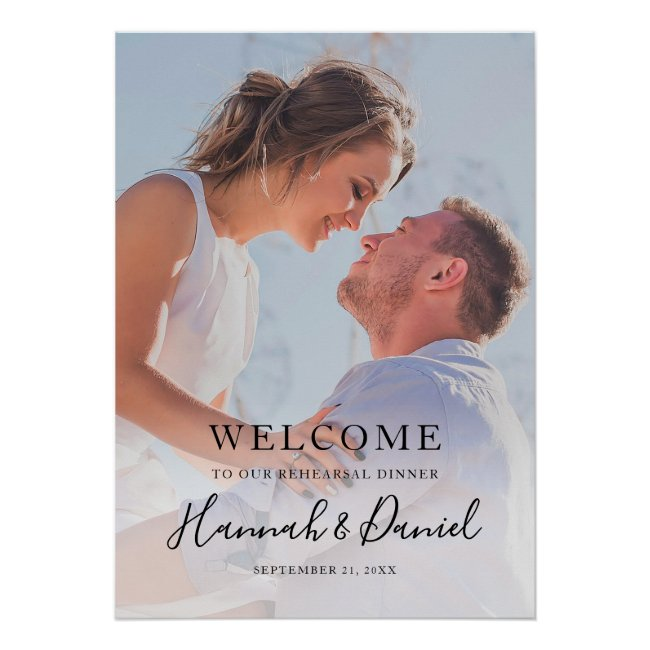 Simple Photo Wedding Rehearsal Dinner Welcome Poster