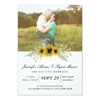 Simple Photo Wedding Sunflowers Card