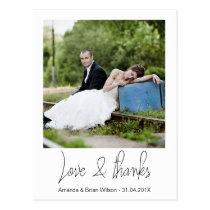 Simple Photo Wedding Thank You Postcard
