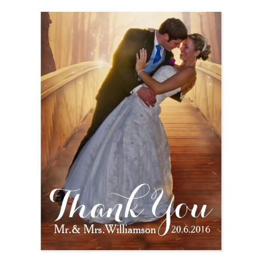 Simple Photo Wedding Thank You Postcard