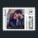 "Simple Photo with Names PhotoStamp by Stamps.com<br><div class=""desc"">Customize these simple postage stamps by adding your favorite photo. These stamps are the perfect way to announce your engagement.</div>"