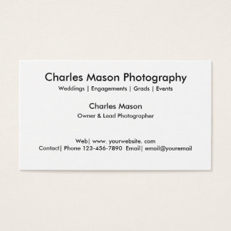 Simple Photographer Two Side Design Business Card