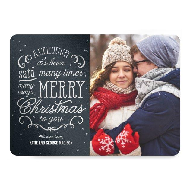 Simple Phrase Editable Color Christmas Photo Cards