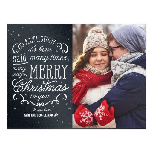 Simple Phrase Editable Color Holiday Photo Card Postcard