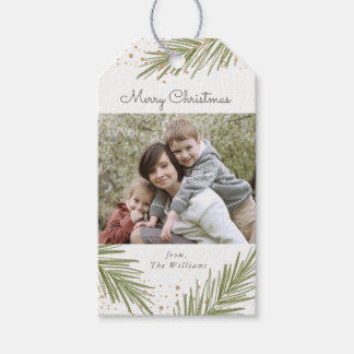 Simple Pines, Christmas Photo Gift Tag