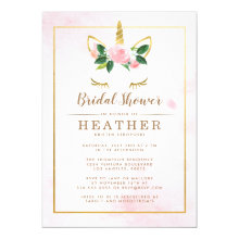 Simple Pink and Gold Unicorn Bridal Shower Invitation