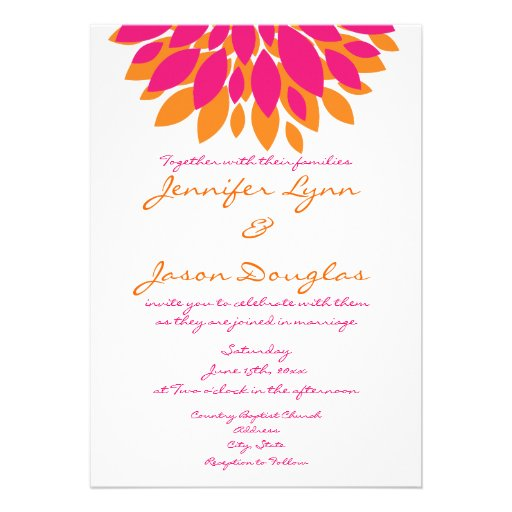 Simple Pink And Orange Flowers Wedding Invitations 5 X 7