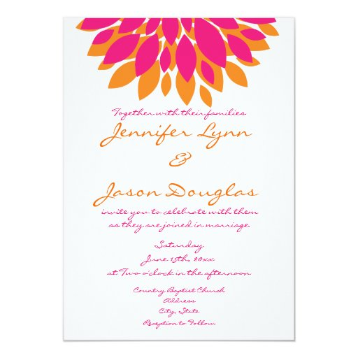 Simple Pink And Orange Flowers Wedding Invitations Zazzle