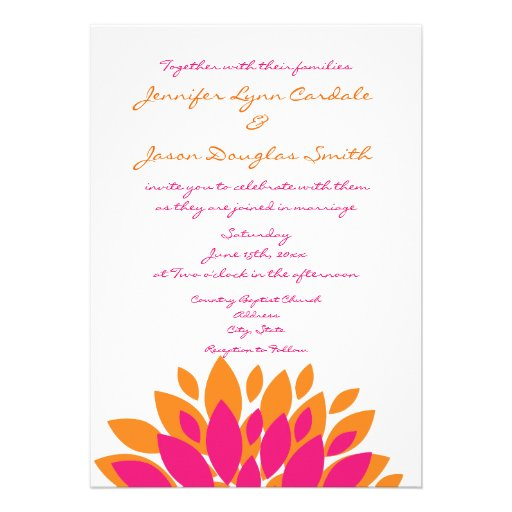 Simple Pink And Orange Flowers Wedding Invitations 5 X 7 Invitation Card