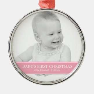 Simple Pink and White Custom Photo Christmas Metal Ornament