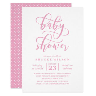 Simple Pink Baby Shower Invitations Announcements Zazzle