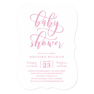 Simple Pink Baby Shower Invitation