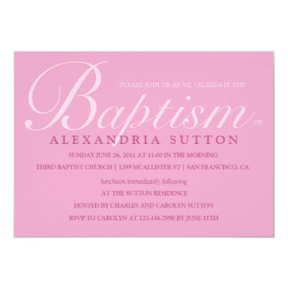 Simple Pink Baptism/Christening Invite