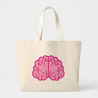 simple pink brains large tote bag