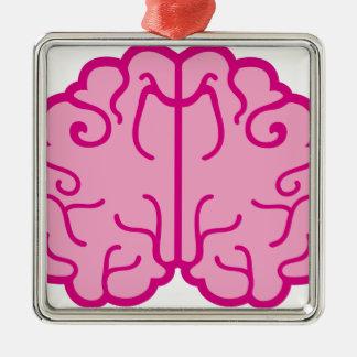 simple pink brains metal ornament