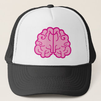 simple pink brains trucker hat